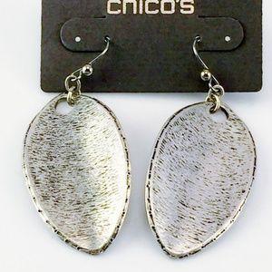CHICOS SILVER BOHO EARRINGS TRIBAL NEW PIERCED